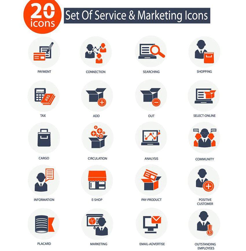 PPT素材|商务素材:20+扁平简洁的市场营销图标