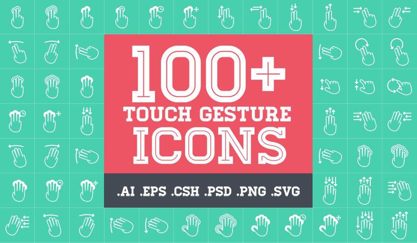 PPT素材|IT类PPT必备:100+触控手势图标素材