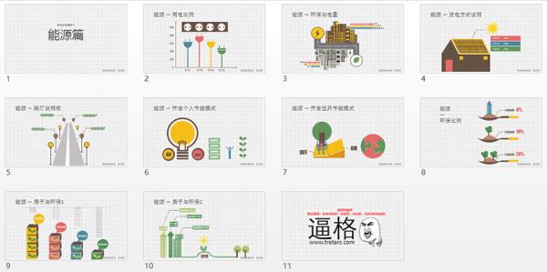 能源行业PPT,能源PPT素材,彩色图形图表,PPT模板素材
