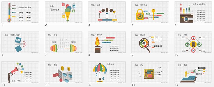 PPT图形图表,PPT图表,PPT图表模板,PPT图表素材,扁平风PPT