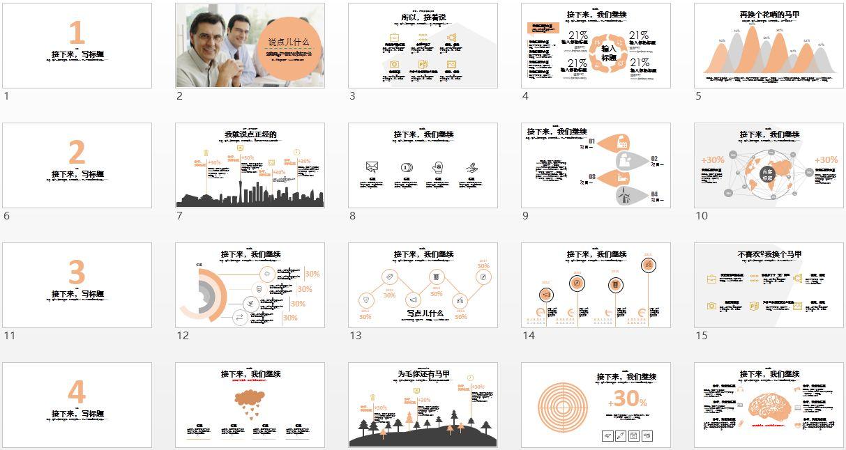 PPT图表模板,商务PPT模板,数据PPT模板
