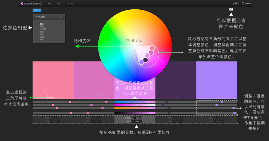 PPT配色,PPT配色教程,Adobe Color CC